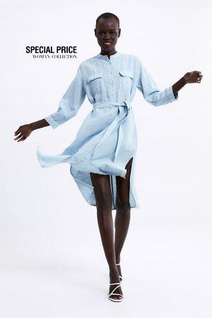 Zara Kobieta Sukienki - Sukienka z kieszeniami i paskiem