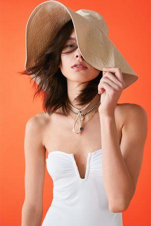 Zara Kostium kąpielowy typu bandeau z falbanką