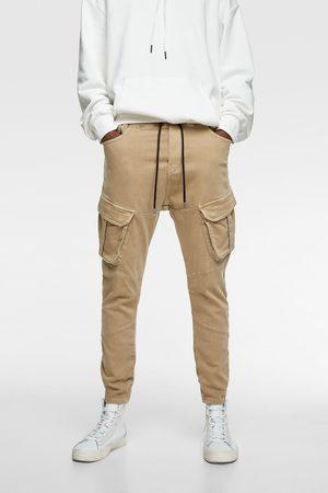 Zara Spodnie joggery z przyjemnej w dotyku tkaniny jeansowej