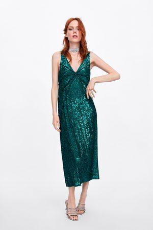 Zara Sukienka z przeszyciami i cekinami
