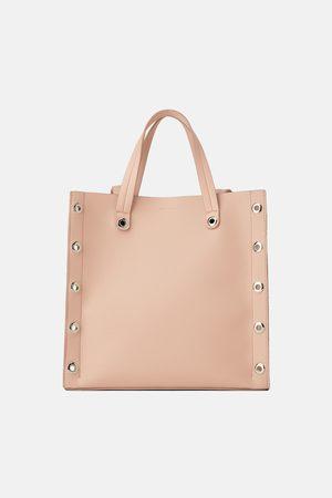 Zara Kwadratowa torba typu shopper z okuciami