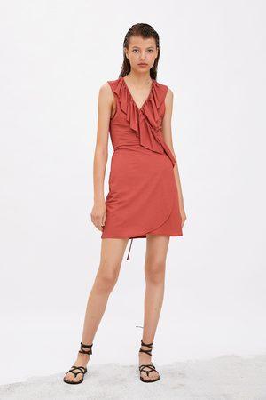 Zara Kopertowa sukienka z falbankami