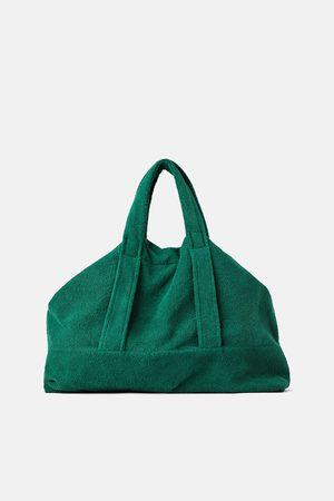 Zara Kobieta Torby shopper - Duża torba typu shopper z tkaniny frotté