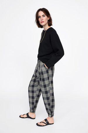 Zara Spodnie w kratę typu slouchy