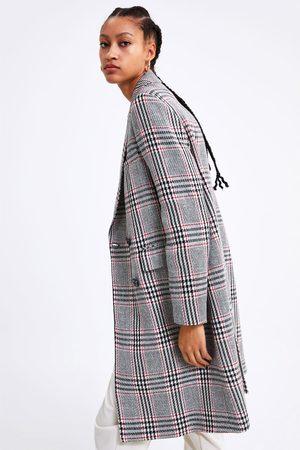 Zara Dwurzędowy płaszcz w kratę