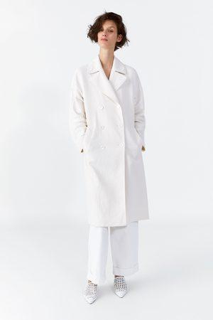 Zara Długi dwurzędowy płaszcz