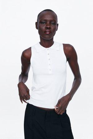 Zara Dzianinowa koszulka polo z guzikami