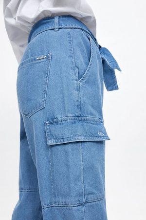 Zara Spodnie typu cargo z paskiem