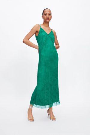 Zara Sukienka z tkaniny siateczkowej na ramiączkach