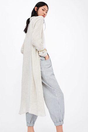 Zara Prążkowane spodnie typu slouchy z paskiem