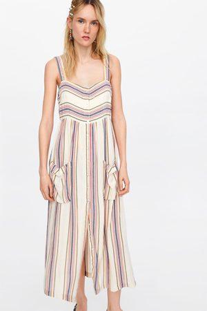 Zara Sukienka w paski z kieszeniami