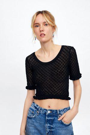 Zara Sweter o krótszym kroju z dzianiny strukturalnej