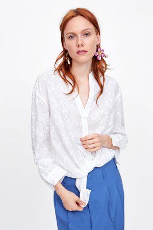Zara Koszula z haftem w kwiaty