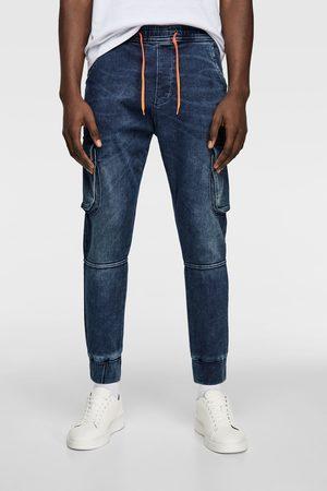Zara Spodnie joggery z miękkiej tkaniny jeansowej