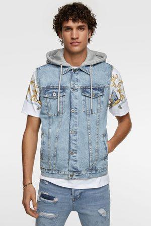 Zara Kamizelka jeansowa z łączonych tkanin