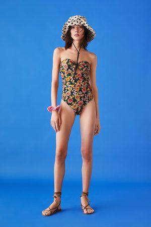Zara Kostium kąpielowy typu bandeau z nadrukiem