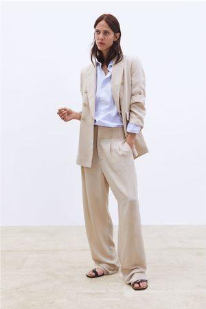 Zara Szerokie spodnie z zaszewkami