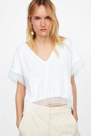 Zara Koszulka ze wstawkami z łączonych tkanin