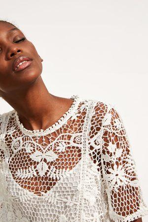 Zara Szydełkowa sukienka z łączonych tkanin