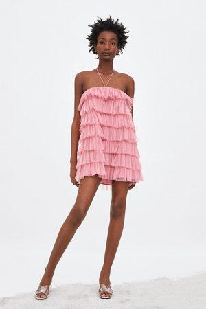 Zara Tiulowa sukienka z falbankami z limitowanej edycji