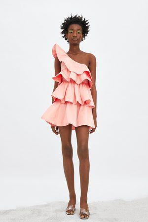Zara Asymetryczna sukienka z falbankami z limitowanej edycji