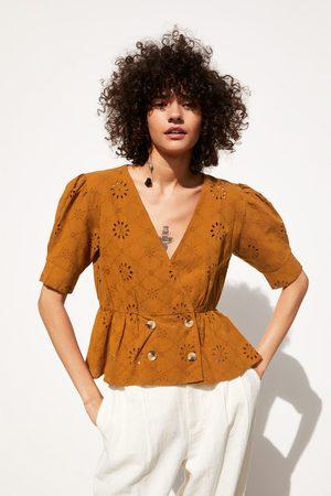 Zara Koszula z haftem i ozdobnym dziurkowaniem