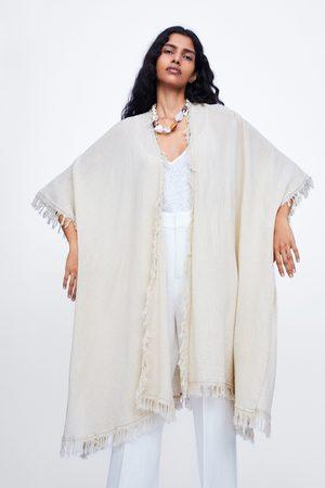 Zara Długie kimono z frędzlami