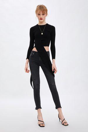 Zara Spodnie jeansowe rurki z niskim stanem typu compact