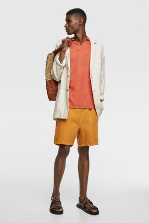 Zara Mężczyzna Bermudy - Spodenki w stylu rustykalnym z wiązaniem