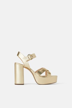Zara Metallic platform block-heel sandals