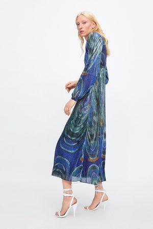 Zara Sukienka zdobiona metalizowaną nicią z limitowanej edycji