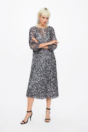 Zara Sukienka z siateczki z cekinami z limitowanej edycji