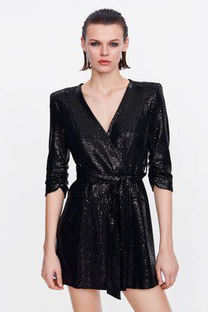 Zara Kobieta Sukienki - Sukienka o kroju marynarki z błyszczącym wykończeniem