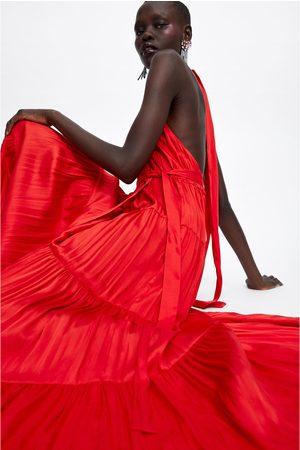 zara czerwona sukienka halter