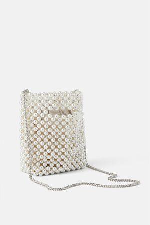 Zara Mini torebka typu worek ze sztucznymi perłami