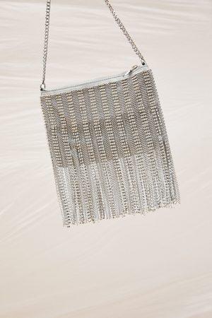 Zara Kobieta Listonoszka - Torebka listonoszka z metalizowanym wykończeniem i biżuteryjnym zdobieniem