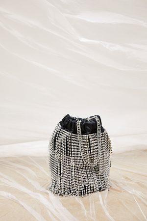 Zara Kobieta Torby worki - Torebka typu worek z biżuteryjnym zdobieniem