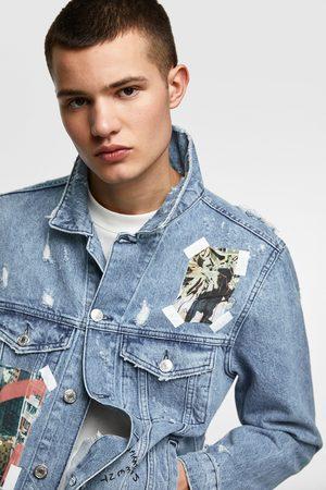 Zara Kurtka jeansowa z nadrukiem fotograficznym