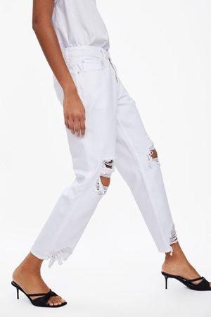 Zara Spodnie jeansowe o luźnym kroju z rozdarciami z kolekcji z1975