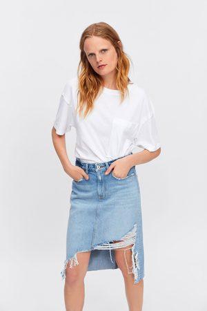Zara Spódnica jeansowa o kroju ołówkowym z rozdarciami