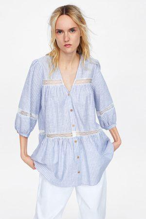 Zara Top w paski ze wstawkami z łączonych tkanin