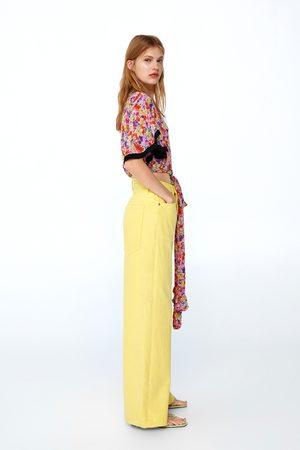 Zara Jeans ze premium vintage high waist lemon yellow