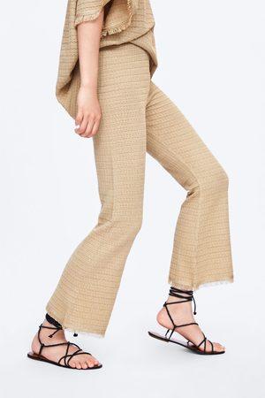 Zara Spodnie z dzianiny z frędzlami