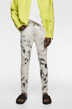 Zara Spodnie jeansowe rurki farbowane metodą tie dye