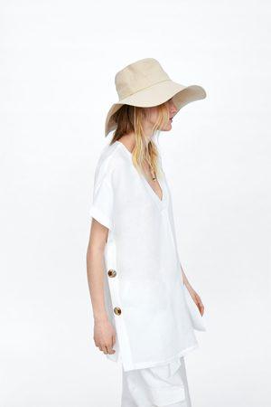 Zara Tunika w stylu rustykalnym z guzikami