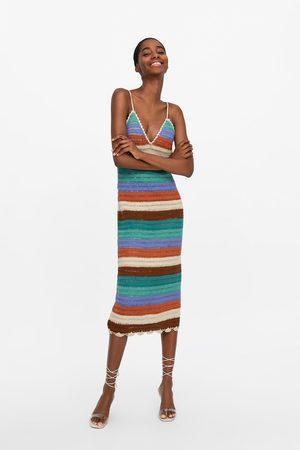 Zara Szydełkowa sukienka w paski