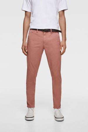 Zara Spodnie chinosy z paskiem