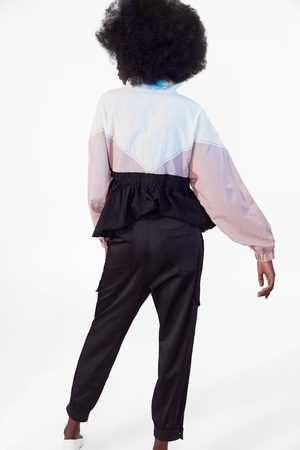 Zara Spodnie cargo z satynowym wykończeniem