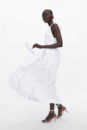 Zara Długa lniana sukienka