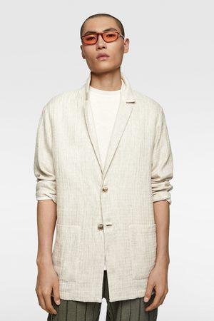 Zara Marynarka z tkaniny strukturalnej w stylu rustykalnym